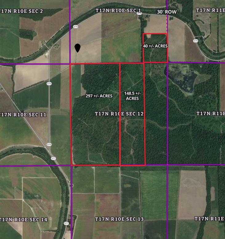 Skipper Aerial Map Of 297ac. 148.5ac. 40ac