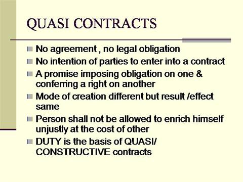 kinds of quasi contract