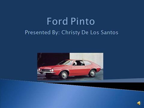 ford pinto case study answers Ford did a study and determined that if a baffle (estimated at costing between $665 and $11) were placed between the bumper and the gas tank, the pinto would be comparable to other cars of its class with respect to the danger of fire from rear-end impact.
