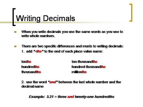 Writing Numbers With Decimals AuthorSTREAM