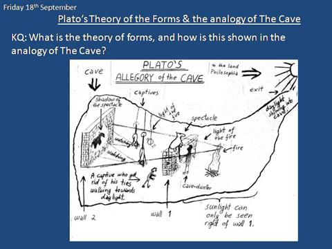 "platos allegory of the cave is a demonstration of mans inability to understand the universe The most famous explanation of this challenging concept is plato's ""allegory of the cave,"" found in book vii of the republic{{8}} in the republic and other dialogues, plato discusses these famous ""forms"" in this higher plane of existence are the idealized forms of the imperfect copies found in the material world."