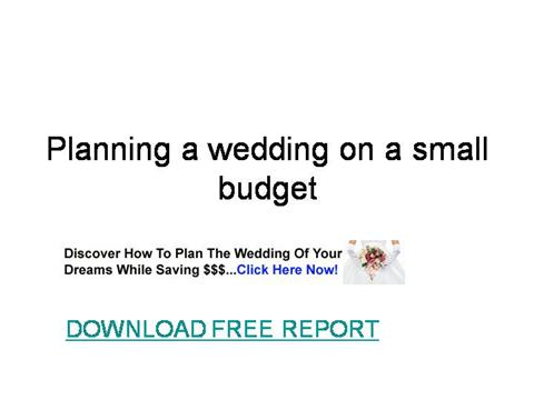 planning a wedding on a small budget authorstream