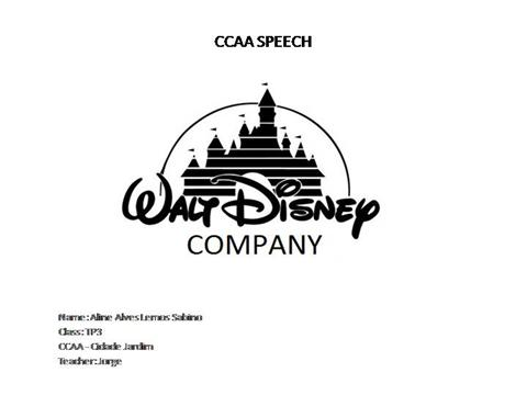 ccaa speech walt disney company authorstream. Black Bedroom Furniture Sets. Home Design Ideas