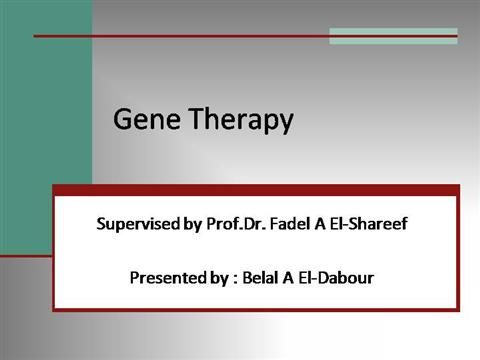 a new future gene therapy essay Gene therapy is the treatment of disease by replacing, altering, or supplementing a gene that is absent or abnormal and whose absence or abnormality is responsible for the disease gene therapy may use the genetic material, dna, itself as the means of treatment.