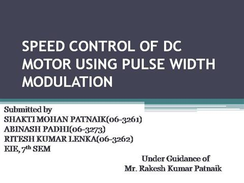 Speed Control Of Dc Motor Using Pulse Wi Authorstream