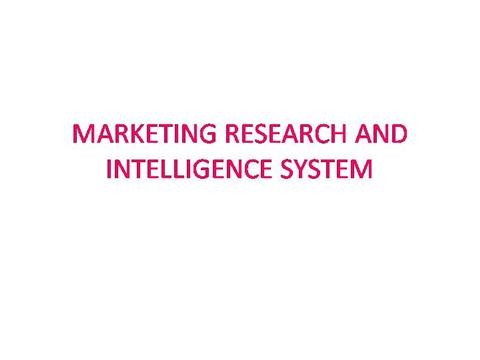 Definition: Marketing Research System