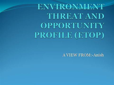 environmental threat and opportunity profile etop 2017-10-30  401 strategic management  environmental scanning: internal & external  environmental threat and opportunity profile (etop) matrix,.