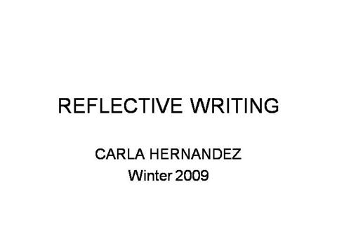 Reflective writing powerpoint presentations
