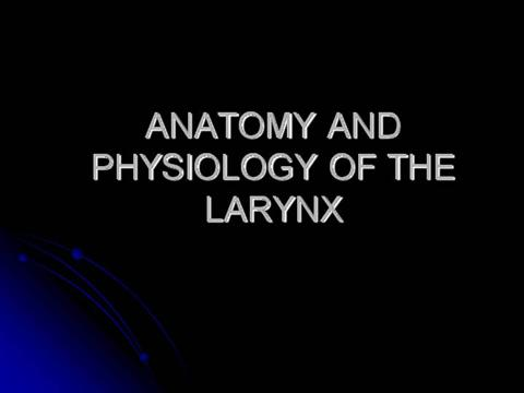 ANATOMY AND PHYSIOLOGY of the LARYNX |authorSTREAM