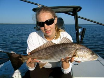 Georgia with a nice Mosquito Lagoon Redfish. <br><br><br><br>Call Captain Mike Bales at 352-255-8175 to book your Mosquito Lagoon fishing charter! <br>Or, visit us on the web at http://www.hotfishcharters.com or on Facebook Hotfish Charters Mosquito Lagoon FIshing-Guide