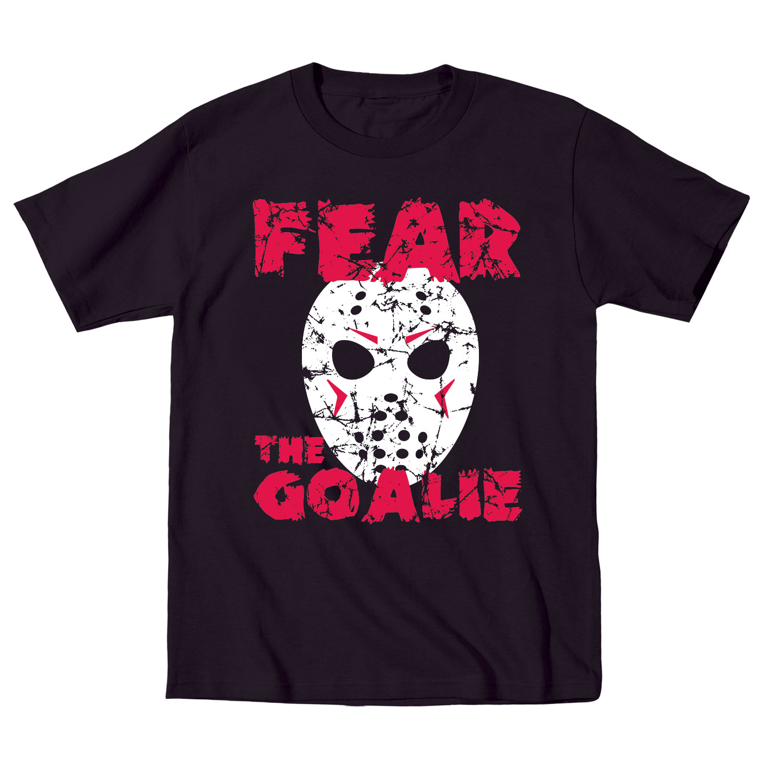 Fear the goalie funny horror ice hockey mask retro sports for Retro nhl t shirts