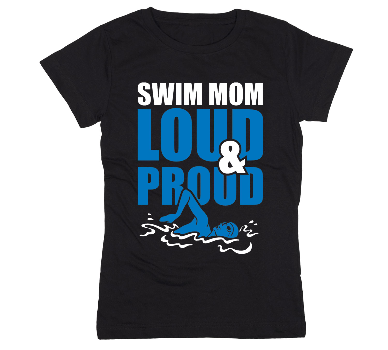 Swim mom loud and proud sports athlete athletic team mom for Wearing t shirt in swimming pool