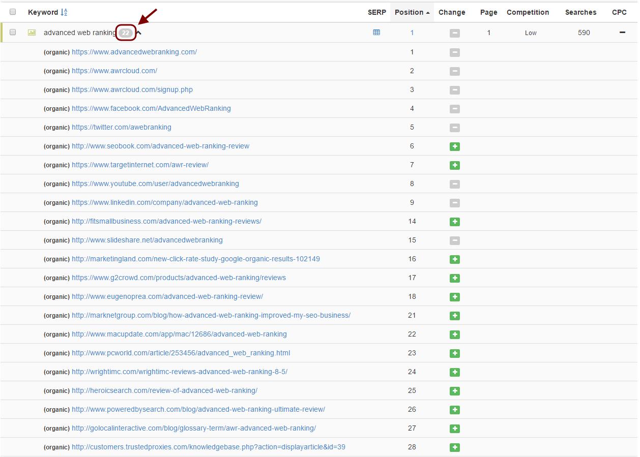 advanced web ranking - extended serp - arrow