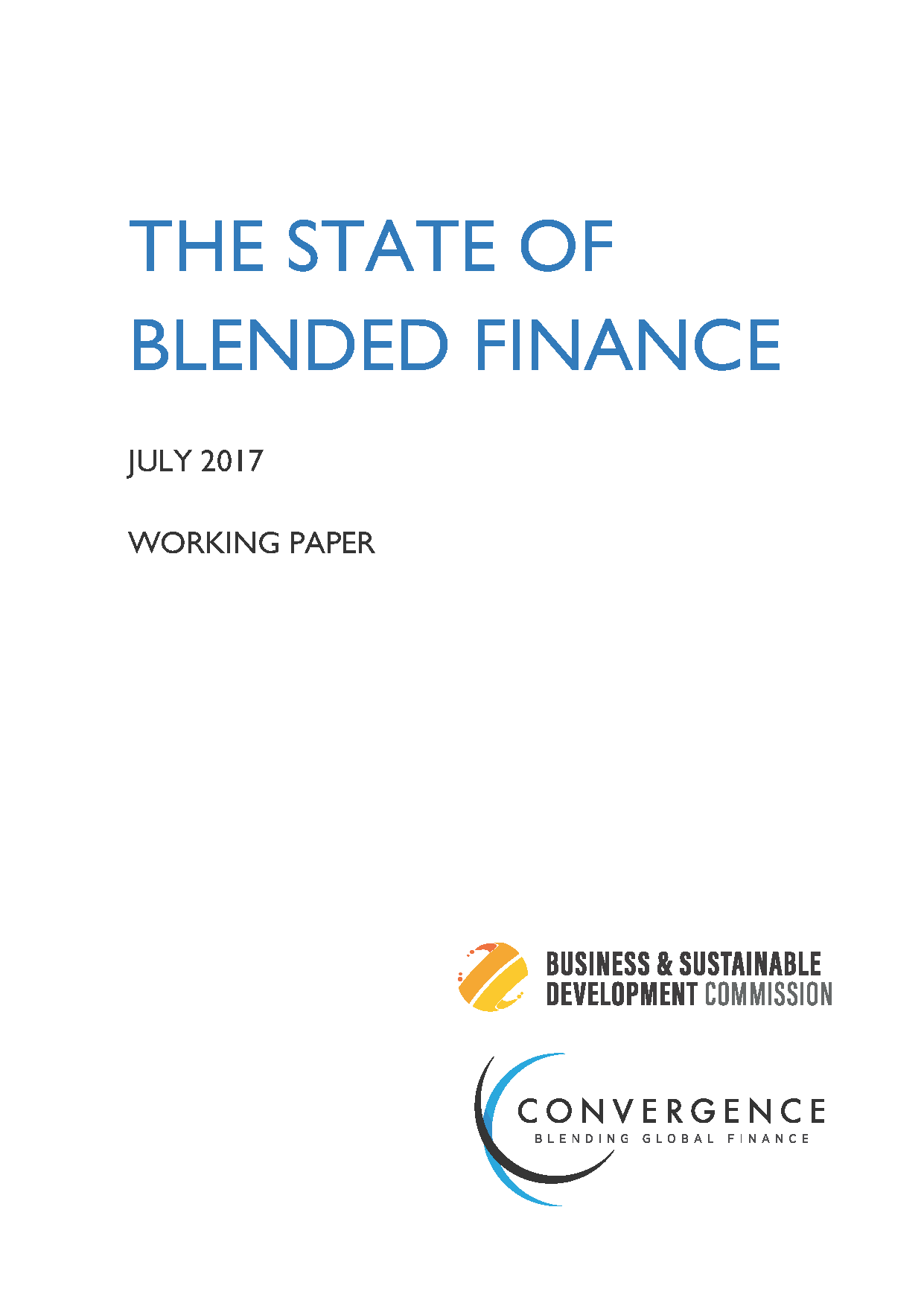 Cover Of State Of Blended Finance