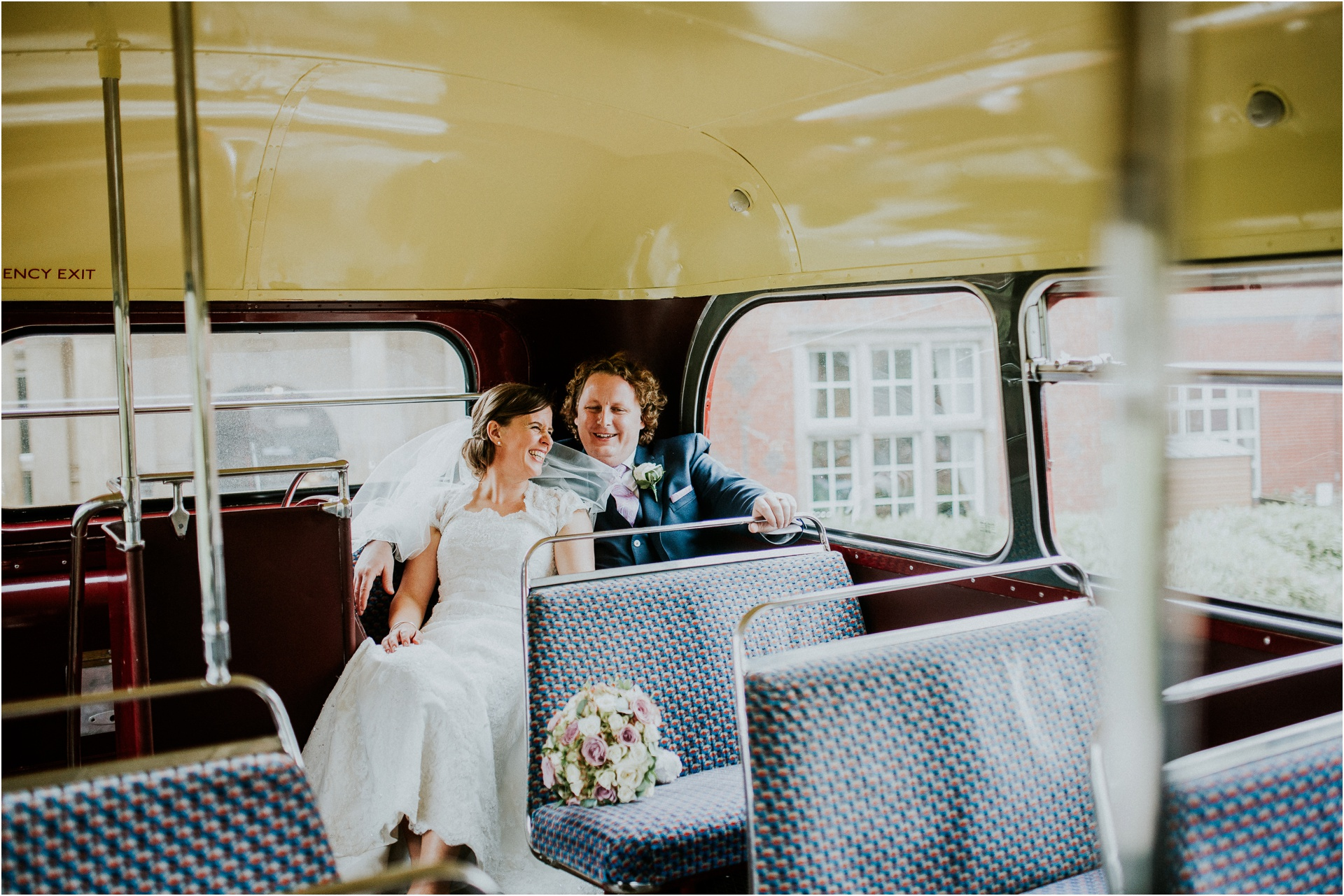 bridal portraits in a bus, Documentary wedding photographer cheshire