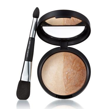 Baked Highlighter Duo with Double-Ended Face and Eye Applicator | Laura Geller Beauty | b-glowing