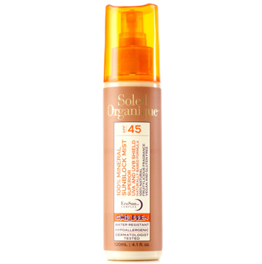 100% Mineral Sunblock Mist SPF 45 for Children | Soleil Organique | b-glowing