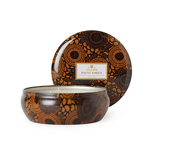 Baltic Amber - 3 Wick Candle in Decorative Tin | Voluspa | b-glowing
