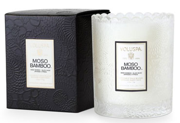 Moso Bamboo - Scalloped Edge Glass Candle | Voluspa | b-glowing