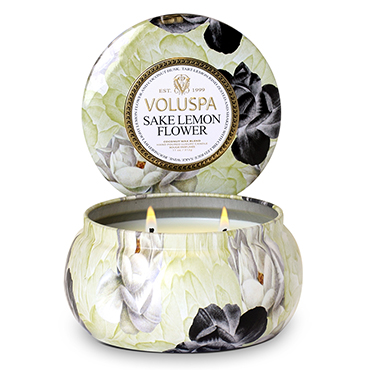 Sake Lemon Flower 2 Wick Maison Metallo Candle | Voluspa | b-glowing