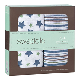 Cotton Muslin Swaddle 2 Pack - Prince Charming | aden + anais | b-glowing