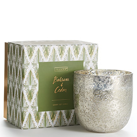 Balsam + Cedar Luxe Sanded Mercury Glass Candle