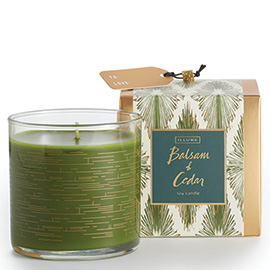 Balsam + Cedar Demi Boxed Glass Candle
