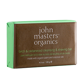 Birch & Cedarwood Cleansing & Shaving Bar | John Masters Organics | b-glowing