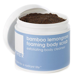 bamboo lemongrass foaming body scrub | LATHER | b-glowing