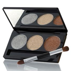 Creme Glaze Baked Eyeshadow Trio with Mini Shadow and Liner Brush | Laura Geller New York | b-glowing