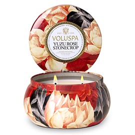 Yuzu Rose Stonecrop 2 Wick Maison Metallo Candle | Voluspa | b-glowing