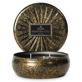 Makassar Ebony & Peach 3 Wick Candle Tin | Voluspa | b-glowing