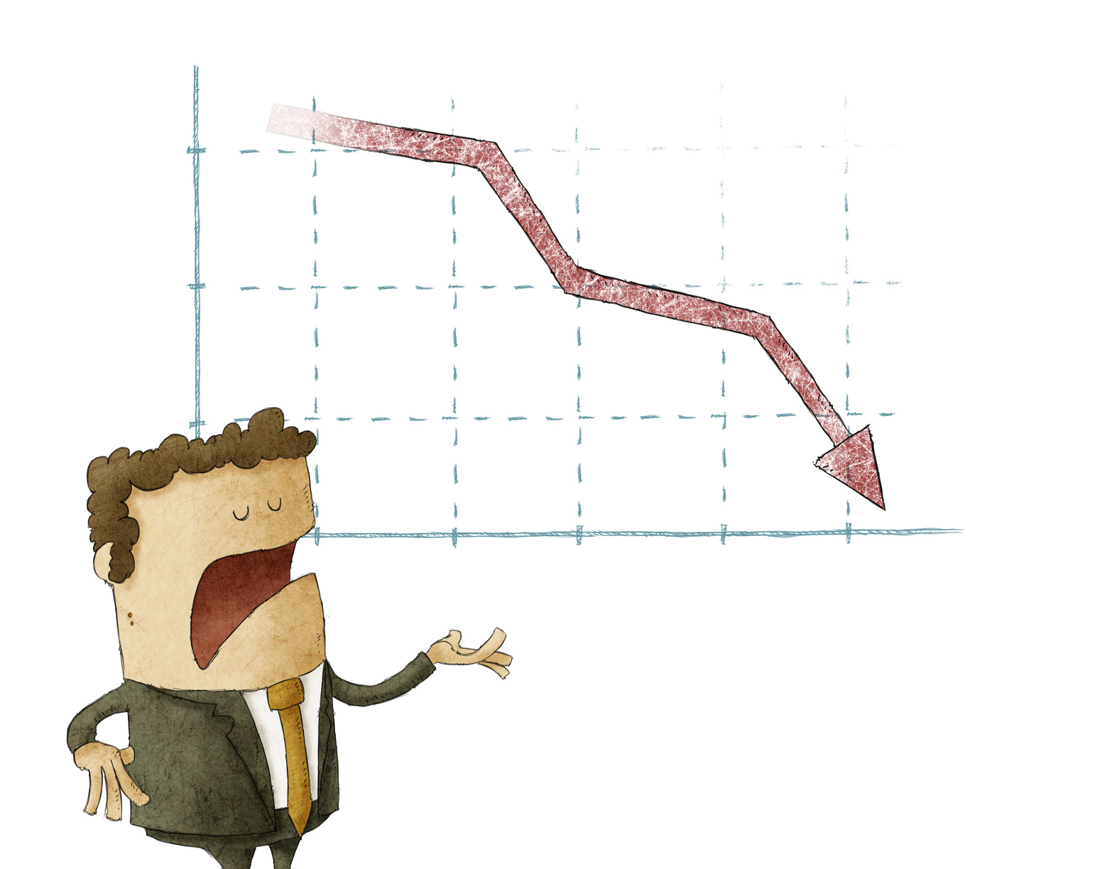 Businessman standing in front of a declining chart over isolated background
