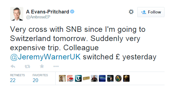 Very cross with SNB since I'm going to Switzerland tomorrow. Suddenly very expensive trip. - @AmbroseEP