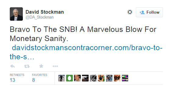 Bravo To The SNB! A Marvelous Blow For Monetary Sanity - @DA_Stockman