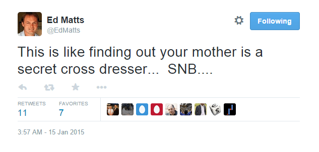 This is like finding out your mother is a secret cross dresser... SNB... - @EdMatts