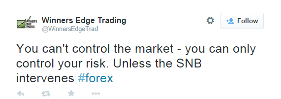 You can't control the market - you can only control your risk. Unless the SNB intervenes. - @WinnersEdgeTrad