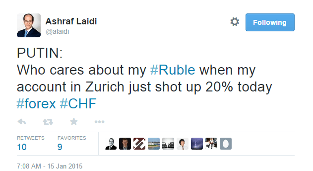 PUTIN: Who cares about my #Ruble when my account in Zurich just shot up by 20% today - @alaidi