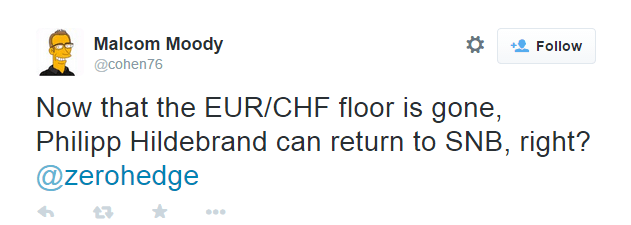 Now that the EUR/CHF floor is gone, Philipp Hildebrand can return to SNB, right? - @cohen76