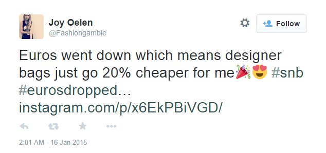 Euros went down which means designer bags just got 20% cheaper for me - @Fashiongamble