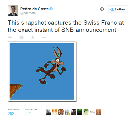 This snapshot captures the Swiss Franc at the exact instant of SNB announcement - @pdacosta