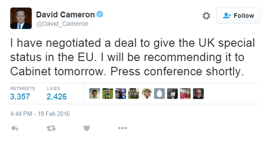 Cameron: Brexit Deal