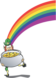 Leprechaun and pot of gold at the end of the rainbow