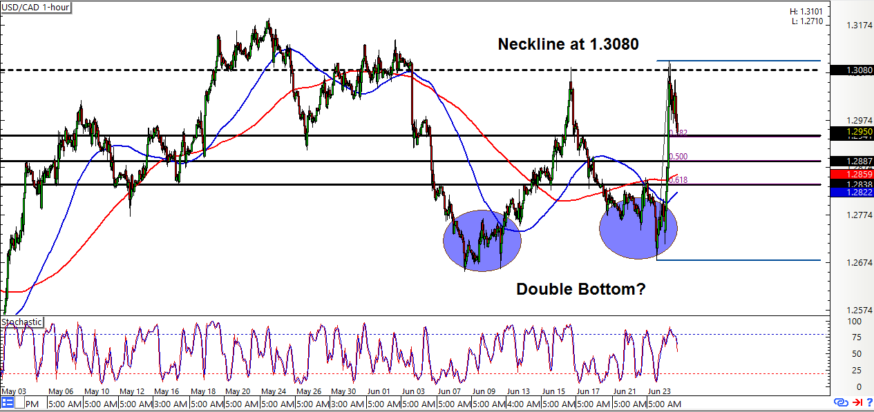 USD/CAD: 1-Hour Forex Chart