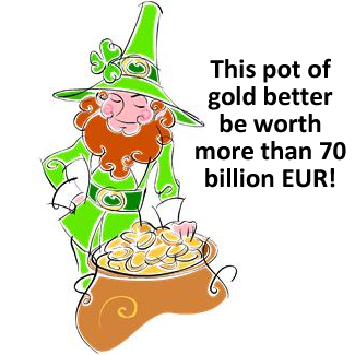 Pot of gold and leprechaun
