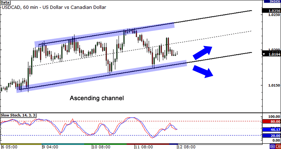 USD/CAD: 1-hour Chart
