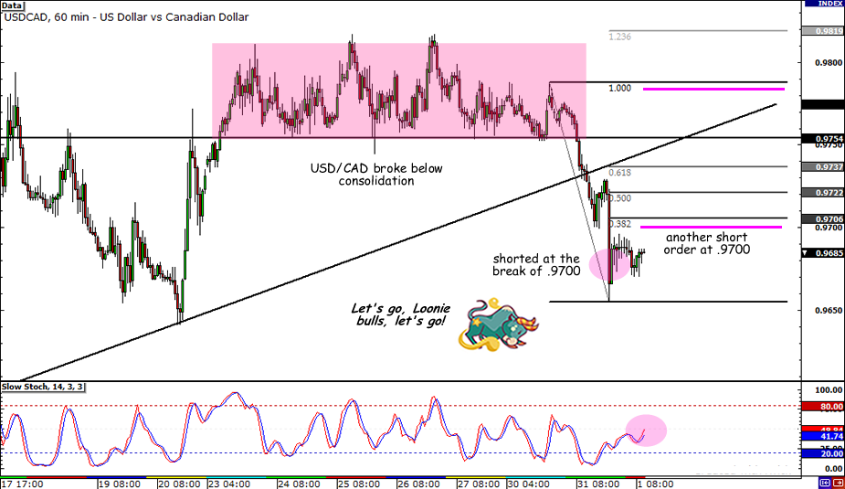 USD/CAD 1-hour Chart