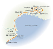 Provence and Costa Brava Walking Tour Map