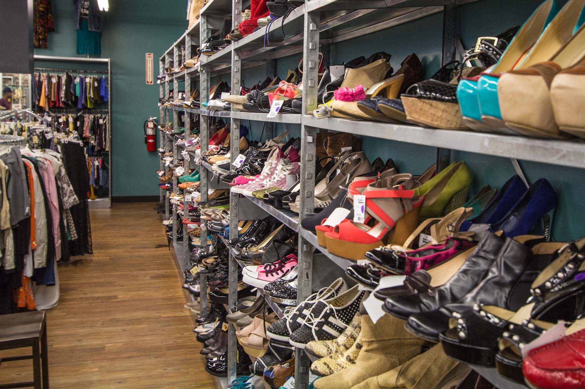 Wall of shoes at Buffalo Exchange in Montrose