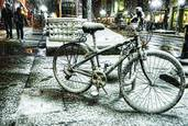 Bike in wet snow